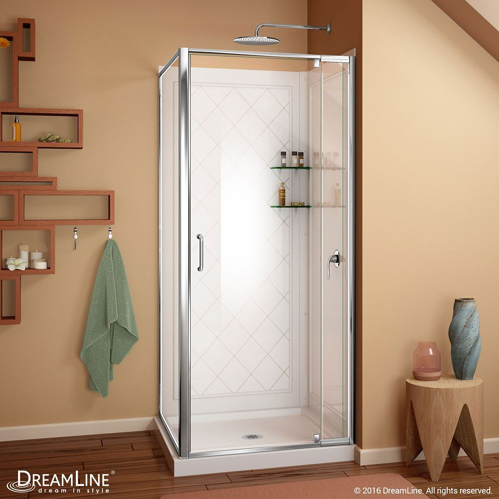 Flex 32 Inch X 32 Inch X 76 75 Inch Framed Corner Shower Kit In Chrome With Shower Base In White Corner Shower Kits Corner Shower Frameless Shower Enclosures