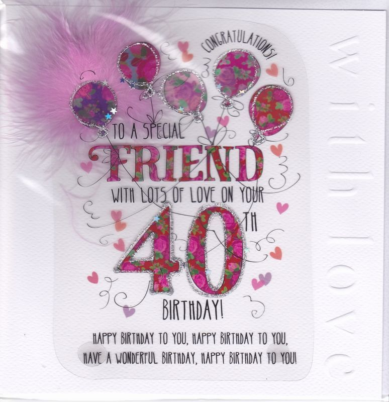 Handmade friend 40th birthday card large luxury birthday card handmade friend 40th birthday card large luxury birthday card product images karenza paperie bookmarktalkfo Image collections