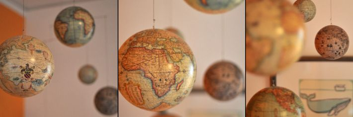 A globe mobile for above the crib!!