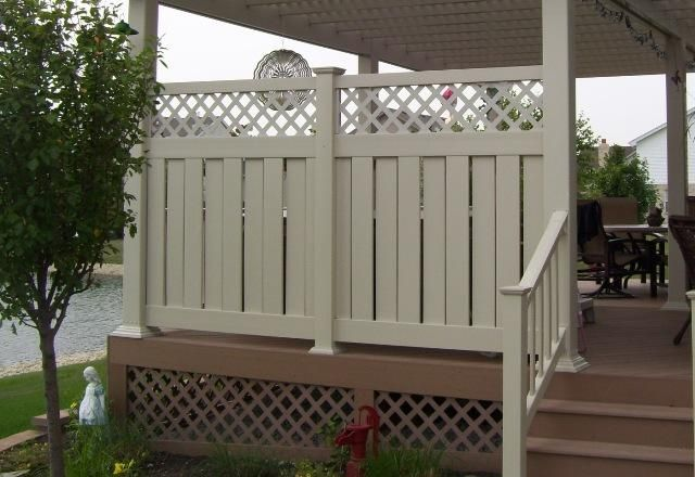 Vinyl fence deck privacy deck in lockport il pool and for Patio deck privacy screen