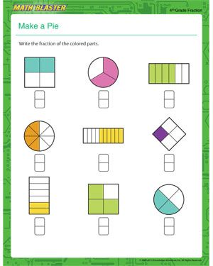Make a Pie - Free Printable Math Worksheet for 4th Grade | hs ...