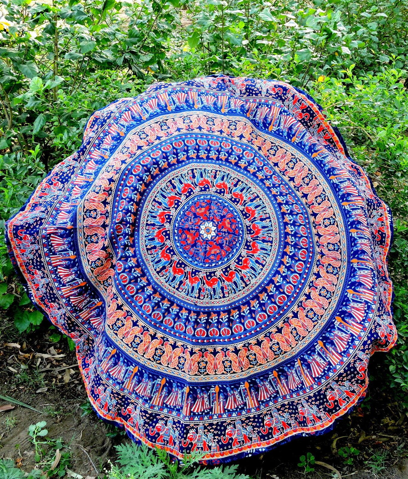 Colorful Elephant Mandala Round Tapestry Beach Towel