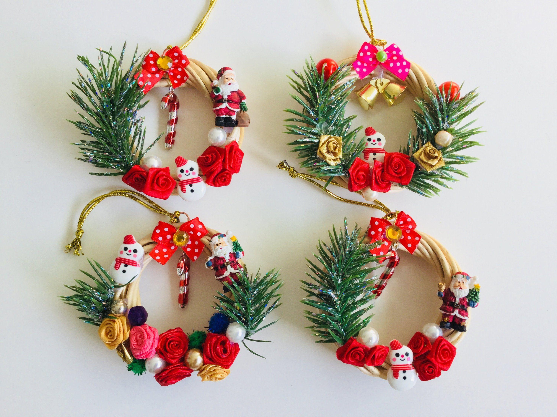 Mini Miniature Decorative Flower Vine weihnachststern Polymer Clay Christmas Wreath