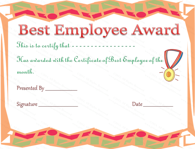 Best Employee Award Certificate Template Within Best Employee Certificate Sample