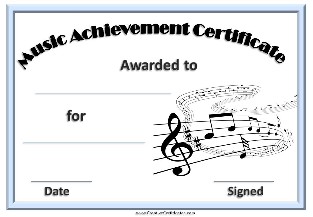 Printable Music Certificate With A Light Blue Border  Products I