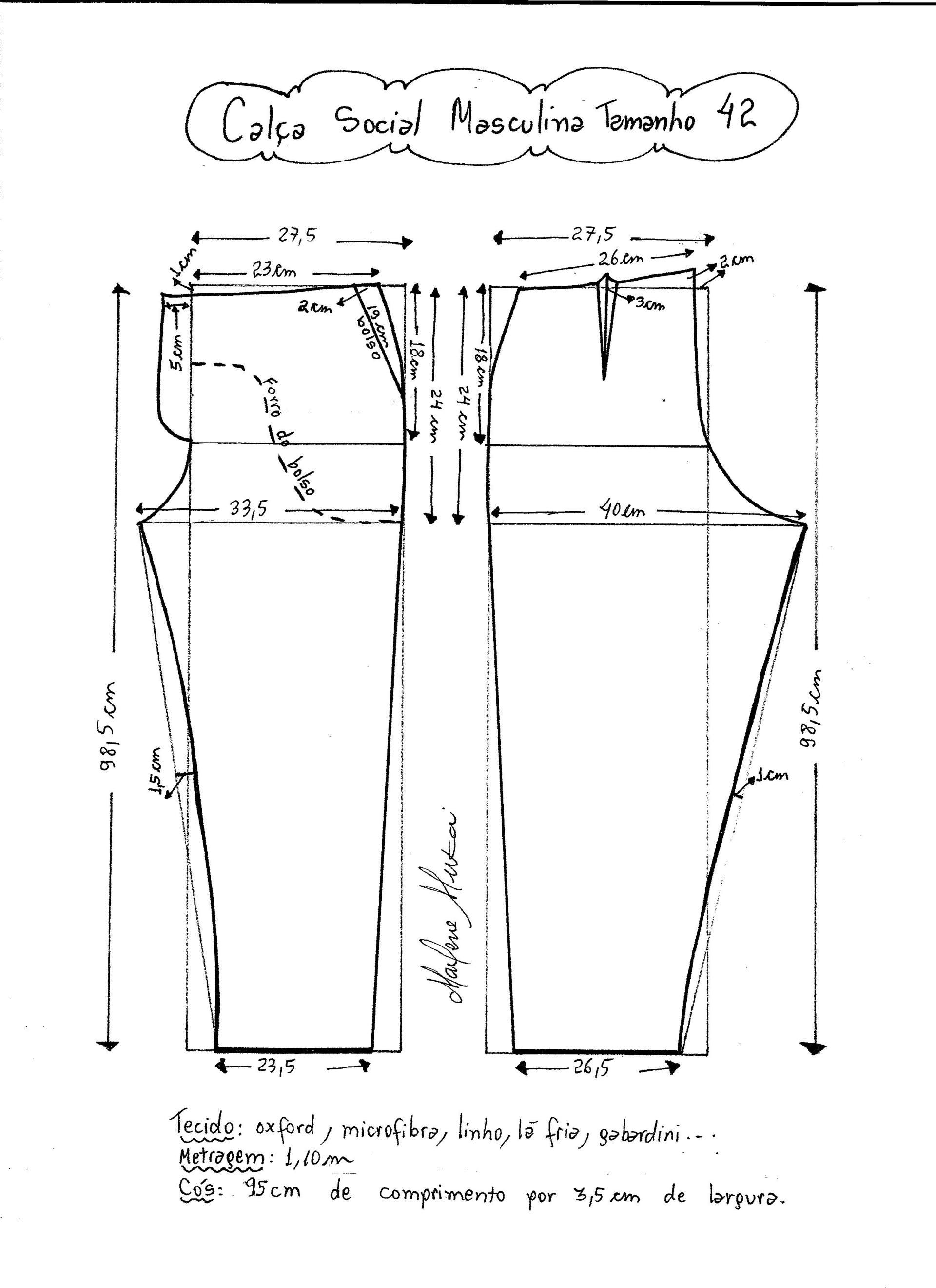 Patrón de pantalones de vestir para hombre | Costuras | Pinterest ...