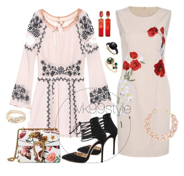 """""""Two sets"""" by vk99style ❤ liked on Polyvore featuring For Love & Lemons, Gucci, sweet deluxe, DIANA BROUSSARD, Oscar de la Renta, BIBI VAN DER VELDEN and Pomellato"""