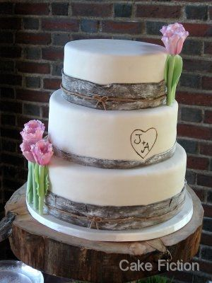 Birch Wood Theme Wedding Cake Our Rustic Wedding Wedding
