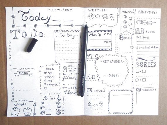 Goals Bujo Journal Printable Planner Agenda Layout Template