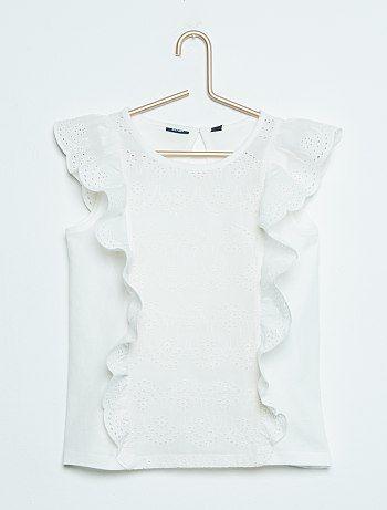 94610f01e7e Camiseta sin mangas con bordado inglés blanc Chica - Kiabi