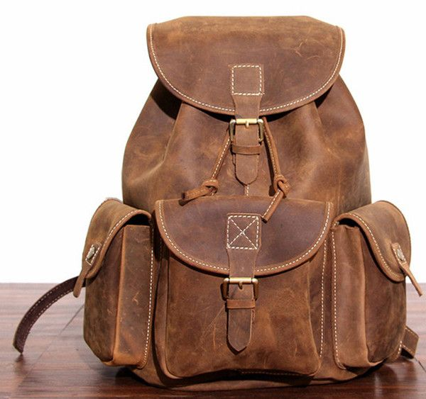 Distressed Cowhide Hiking and trekking Leather Backpack with strong Leather Straps