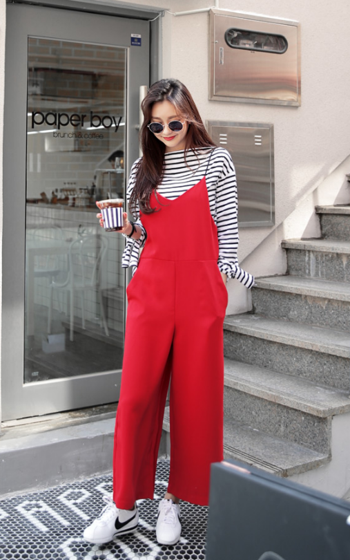 b5ab0fabb48 Wide Pants Sleeveless Jumpsuit by Dahong  koreanstyle  red  streetstyle