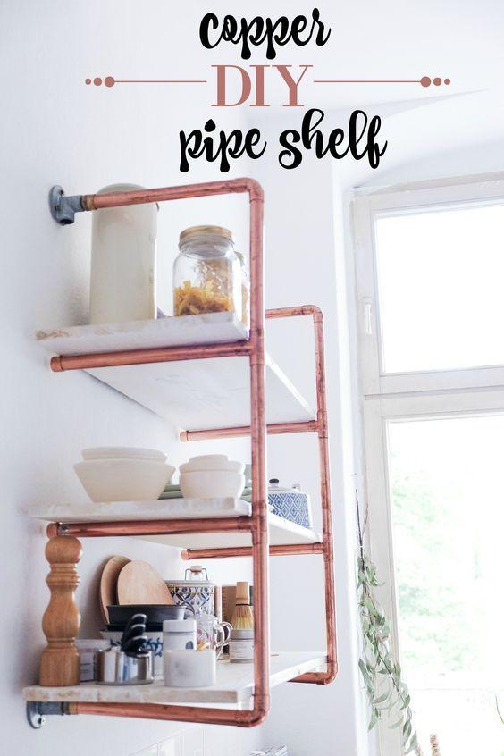 Step by step DIY copper pipe shelf tutorial