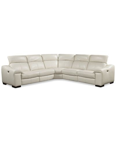Kelsee 5 pc Leather Sectional Sofa with 3 Power Recliners with