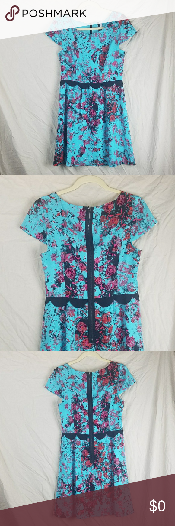 870765e7b98f3a Kensie Blue dress with red floral print