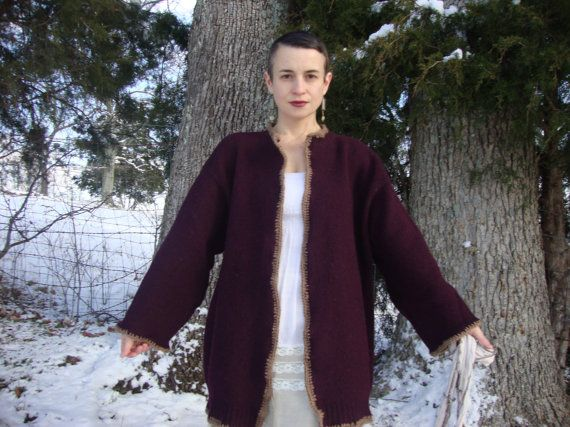 Kimono Styled Cardigan Coat in Vintage Wool/ by RebirthRecycling, $57.00