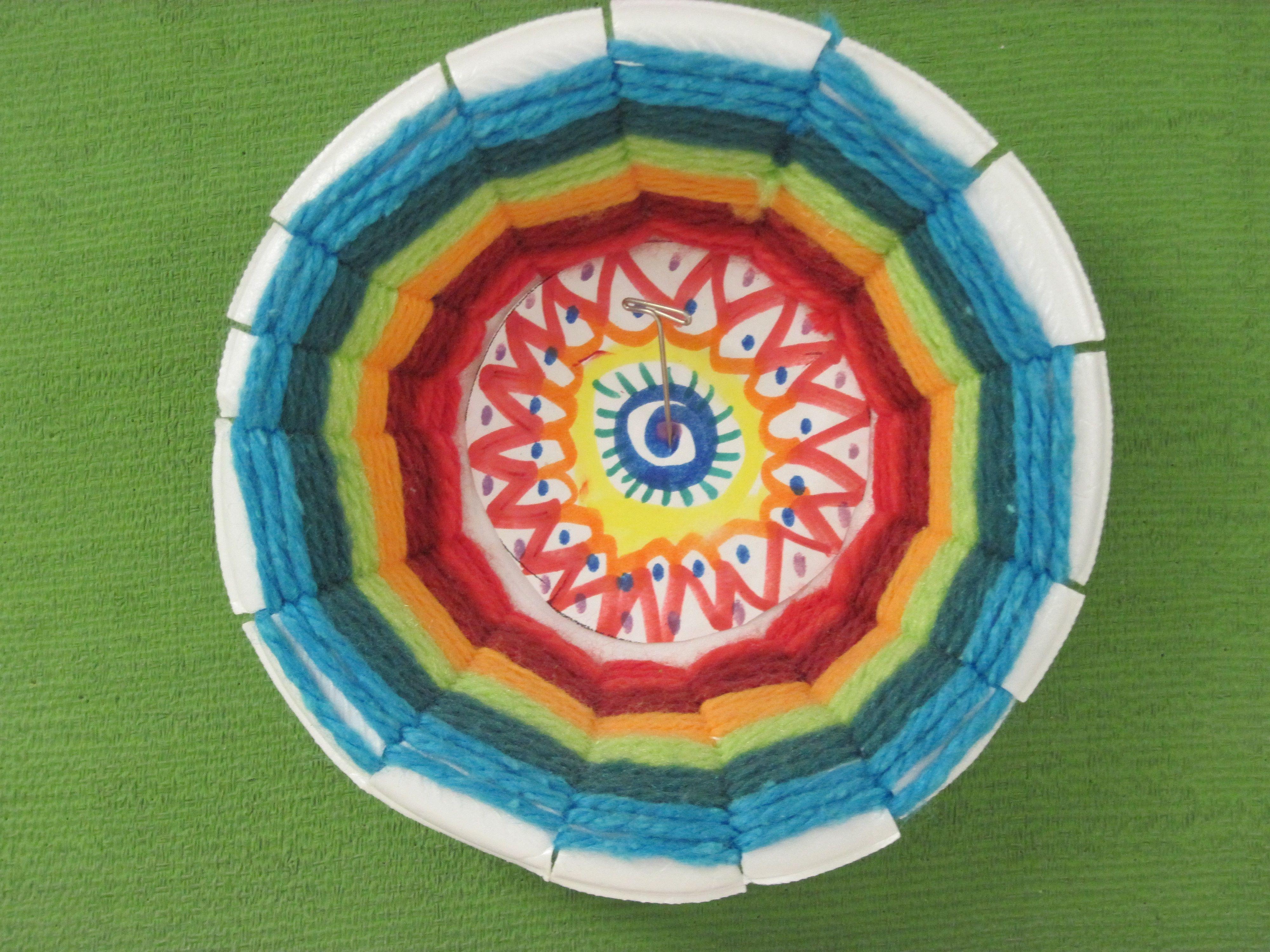 Styrofoam Bowl Weaving With Radial Design Insert