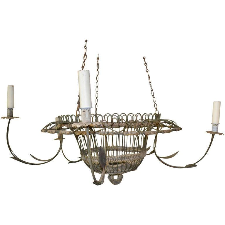 Large French Wire Basket Chandelier