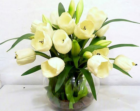Real Touch White Tulip Artificial Flower Arrangement Fishbowl Vase Fake Flowers Realistic That Look And