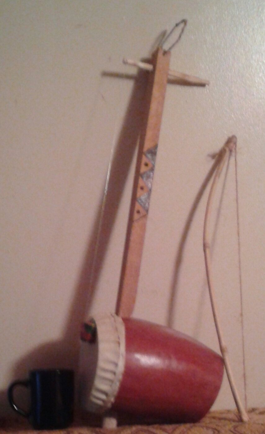 east african-style harp/fiddle (zeze) free domestic shipping