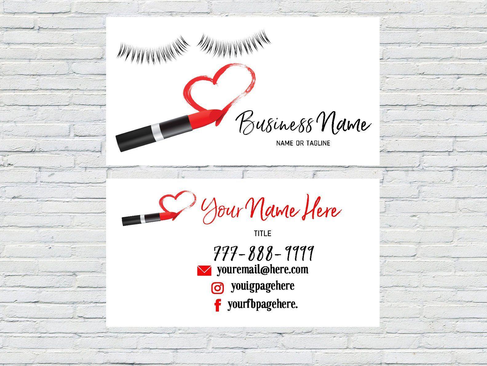 Red Makeup Artist Business Card Lash Extensions Make Up Artist Esthetician 3d Las Makeup Artist Business Cards Makeup Artist Business Artist Business Cards
