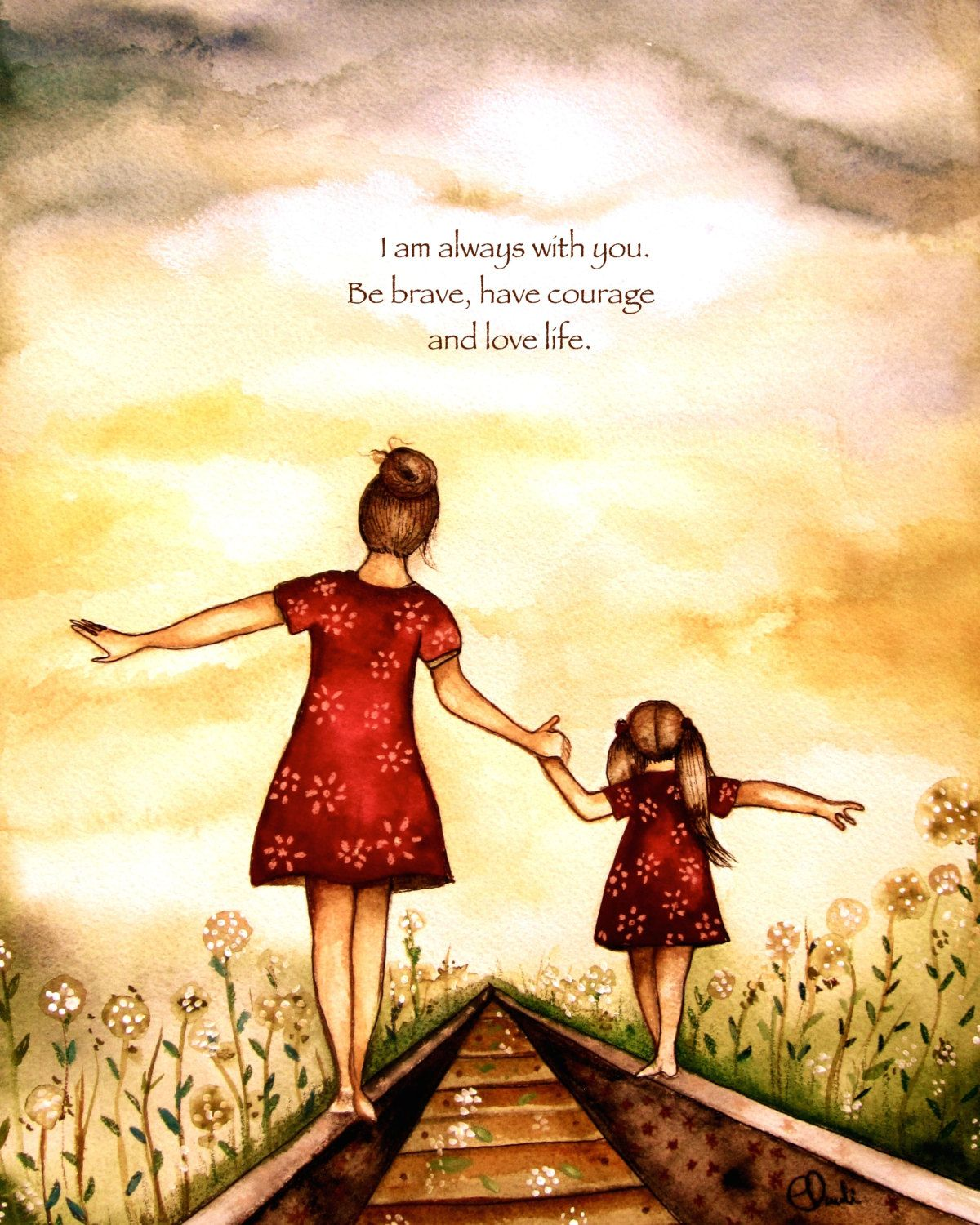"Mother and Blonde daughter ""our path"" art print by Claudia Tremblay"