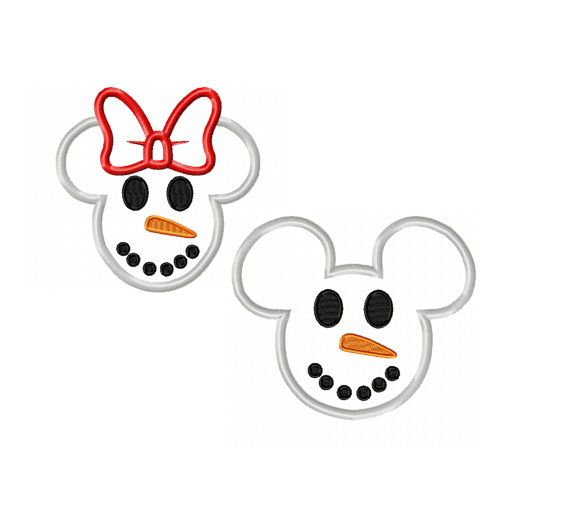 Mickey and Minnie Miss and Mister Mouse Snowman Applique Digital Instant Download