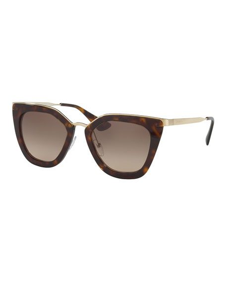 888ce58006b9 PRADA Gradient Metal-Trim Geometric Cat-Eye Sunglasses