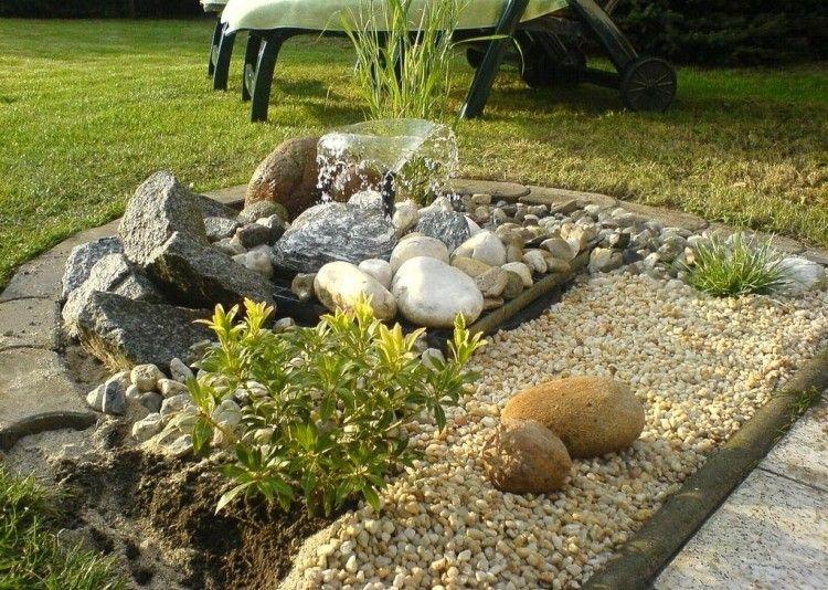 Perfekt Steingarten Gestalten Idee Steine Kies Springbrunnen
