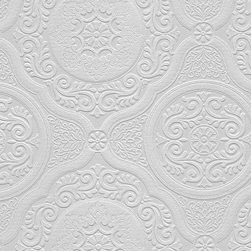 Paintable Wallpaper Ornate Medallions Victorian 48932
