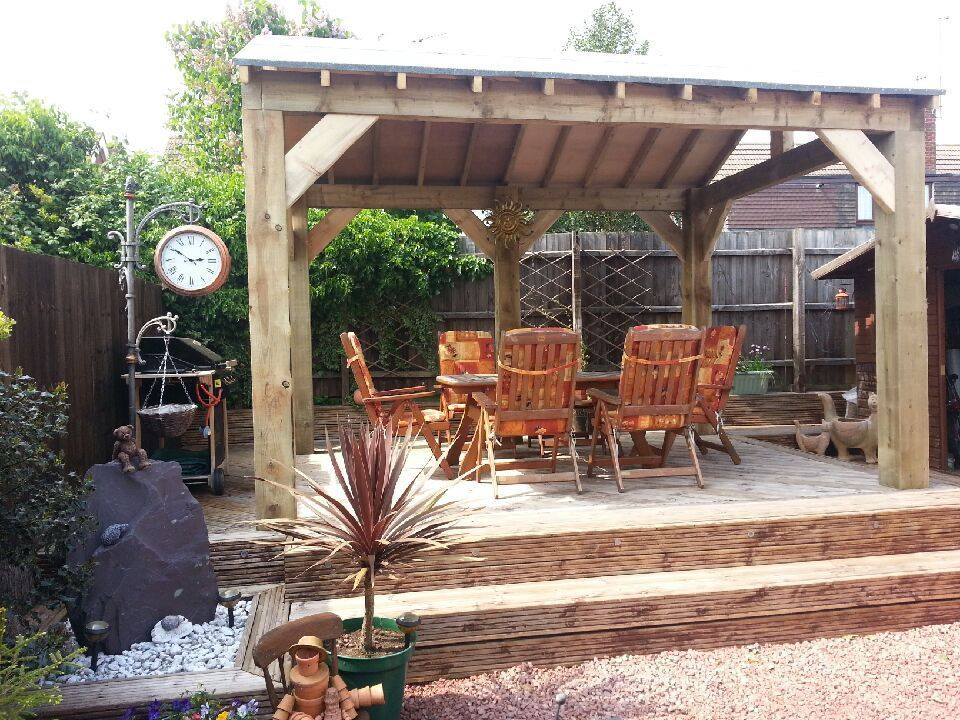 Details about open sided wooden garden shelter gazebo for Kitchen design 6m x 3m