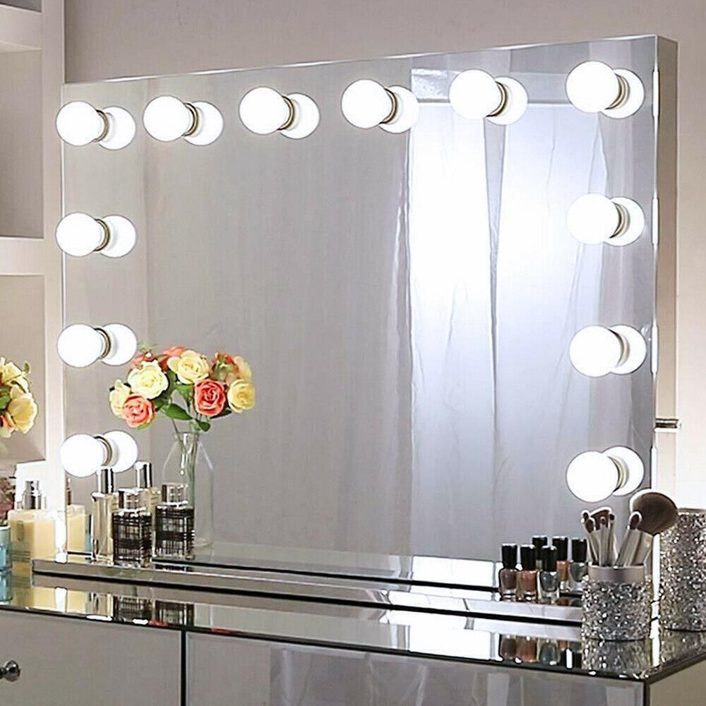 Boyel Living 26 In X 31 In Frameless Vanity Mirror Hollywood Style Led Lignted Tabletop Mirror Xd 8065 Fl The Home Depot Hollywood Mirror With Lights Makeup Vanity Mirror With Lights Lighted Vanity Mirror