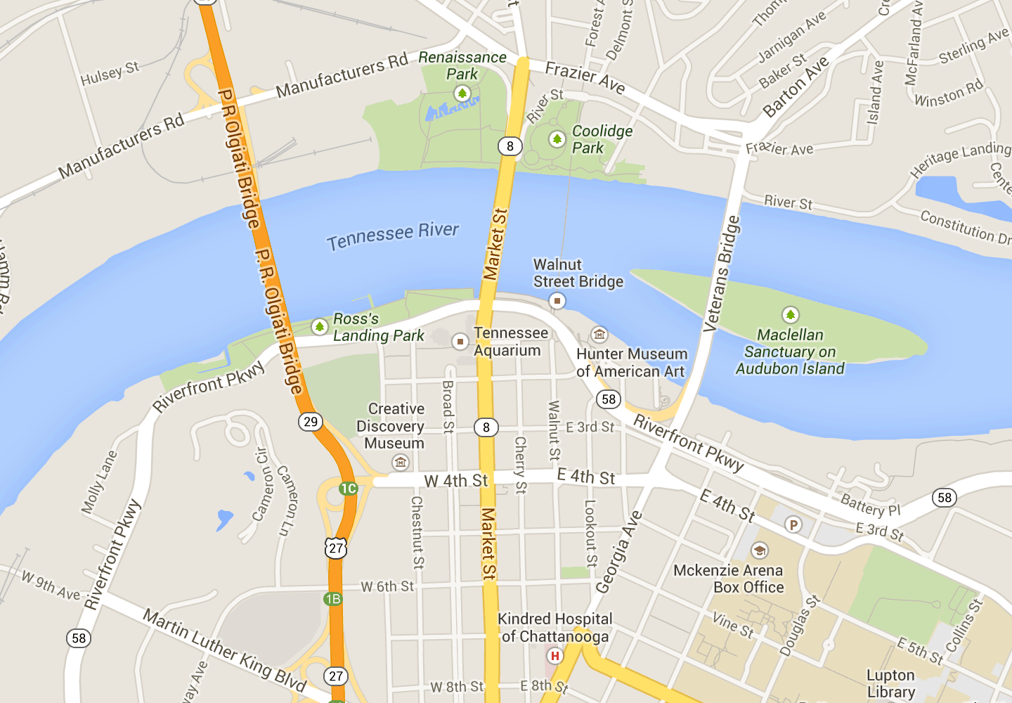 Downtown Chattanooga - Map | Tennessee | Chattanooga map, Map ... on