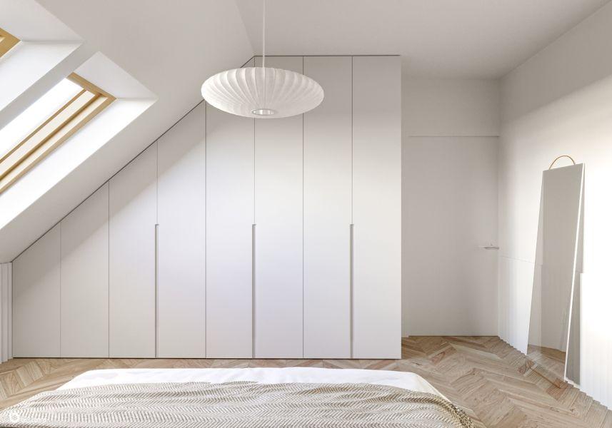Biala Zabudowa Na Poddaszu Zabudowa W Sypialni Projekt Be3 Pracownia Projektowa Foorni Pl Meble Zabudowa Podda Minimalism Interior Room Makeover Home