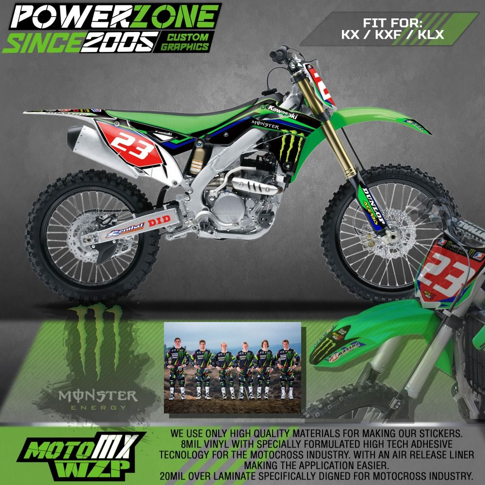 Customized team graphics backgrounds decals 3m custom stickers racing for kawasaki mx enduro kx250f kx450f kxf klx 450 250
