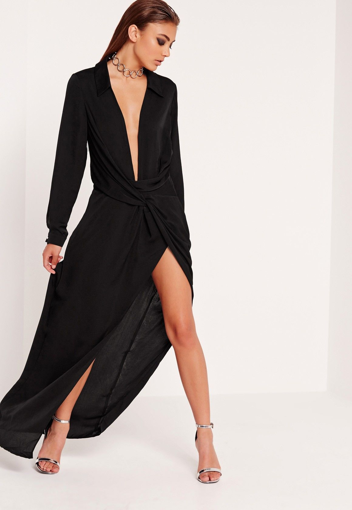 Missguided peace love wrap front shirt maxi dress black style