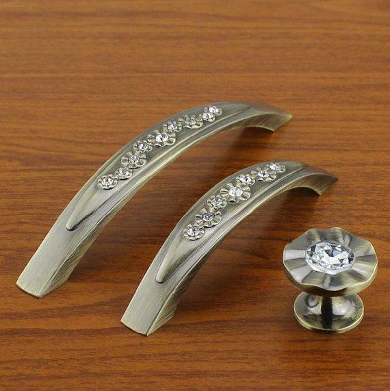 Rustic Dresser Pulls Drawer Pull Handles Knobs Glass Crystal Cabinet ...