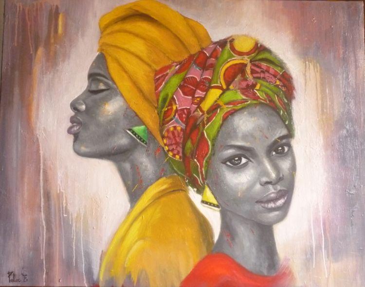 Tableau Peinture Africaine Femme Portrait Duo Africaine