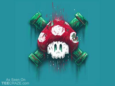 Mushroom Skull T-Shirt - http://teecraze.com/mushroom-skull-t-shirt/ -  Designed by c0y0te7