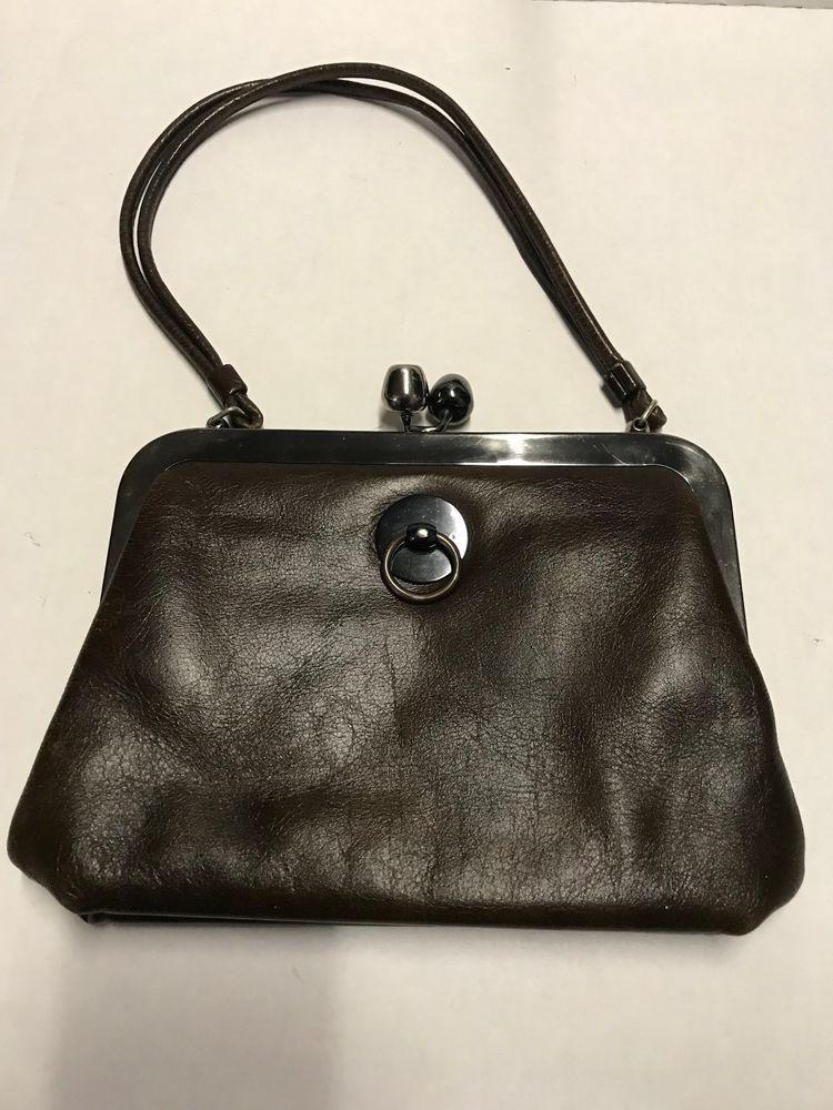 Saber Vintage Brown Leather Kisslock Handbag Shoulderbag