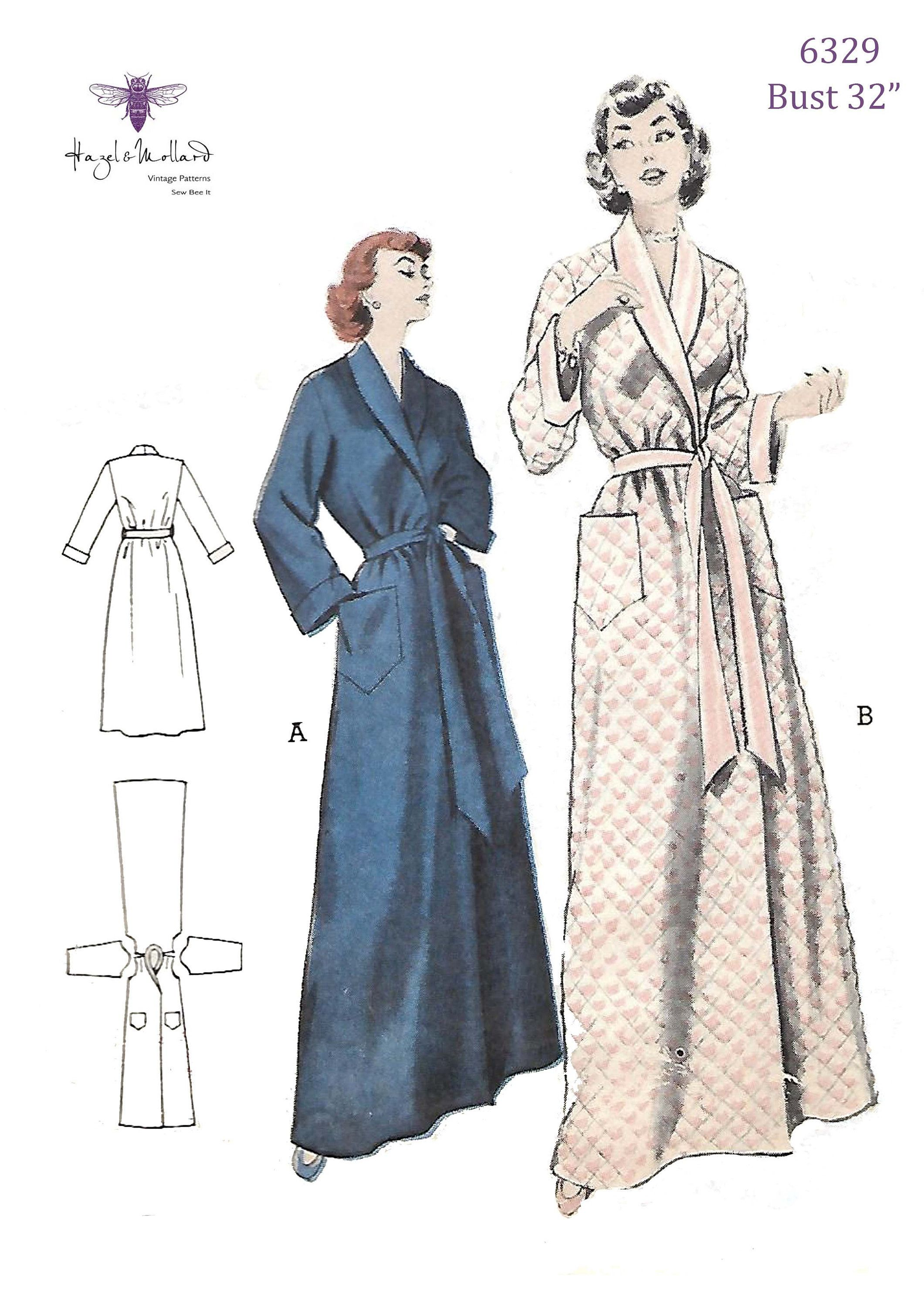 Reproduction 1950 S Sewing Pattern Wraparound Robe Shawl Etsy Dressing Gown Pattern Gowns Dresses Gown Pattern