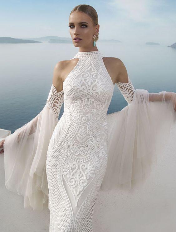 Modelo de vestido de casamento da grife Julie Vino, todo trabalhado ...