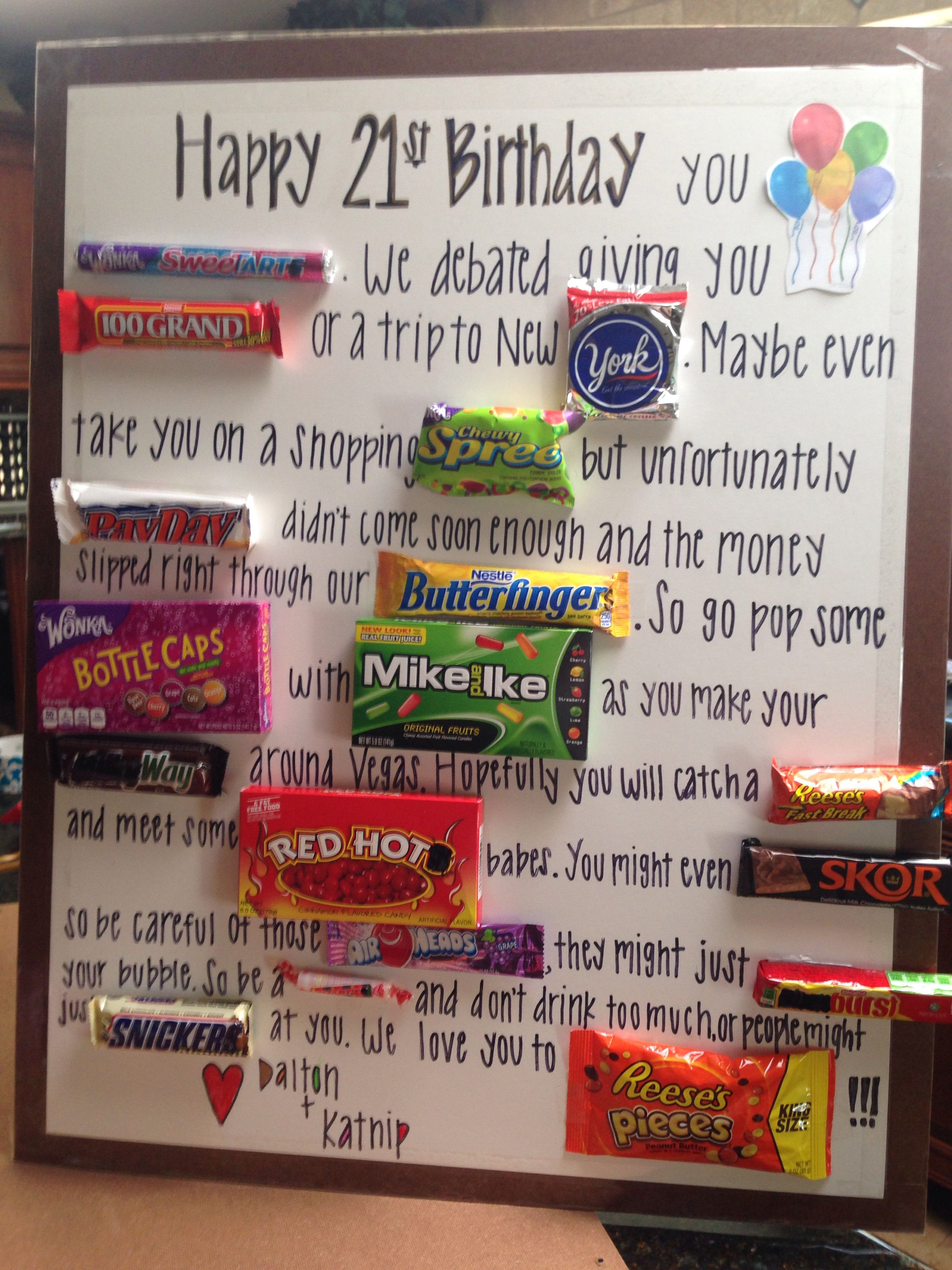 21st Birthday Candy Card Candy Bar Posters Bar Card Candy Poster Board