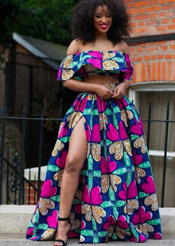 821c1fa9c7 African Print Maxi Skirt with High Slit and Flair Crop Top - Off Shoulder -  Ankara - African Dress