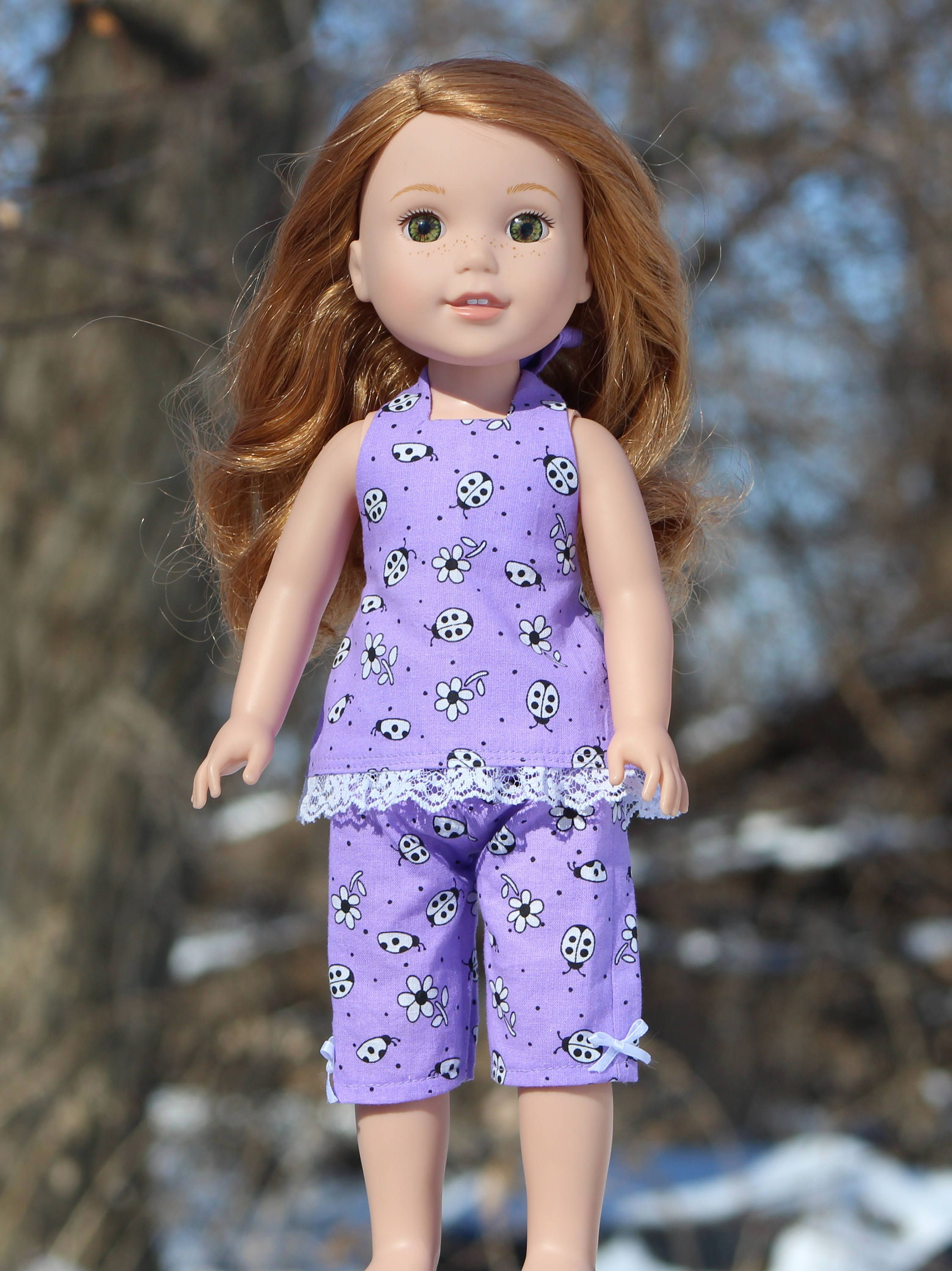 """Pink Heart Capri/'s Leggings for 14.5/"""" Wellie Wishers Doll Clothes HANDMADE"""