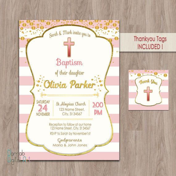 Baptism Invitation Girl Printable Invites Invitations Christening For Ids