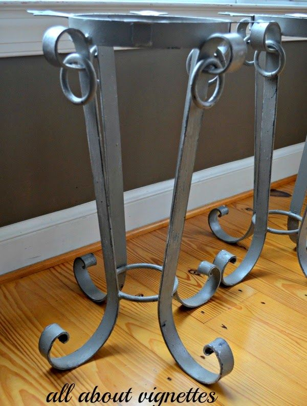 All About Vignettes: Curly Iron-Based Side Tables with Nail Head Trim