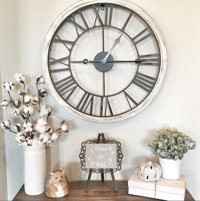 We Will Use This Clock As Decor, And It Goes With The Farmhouse Feel. The  Light Color Will Pop Against The Accent Wall.