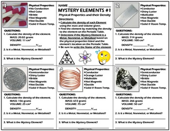 Worksheet Mystery Elements And Their Density Version 1 Physical