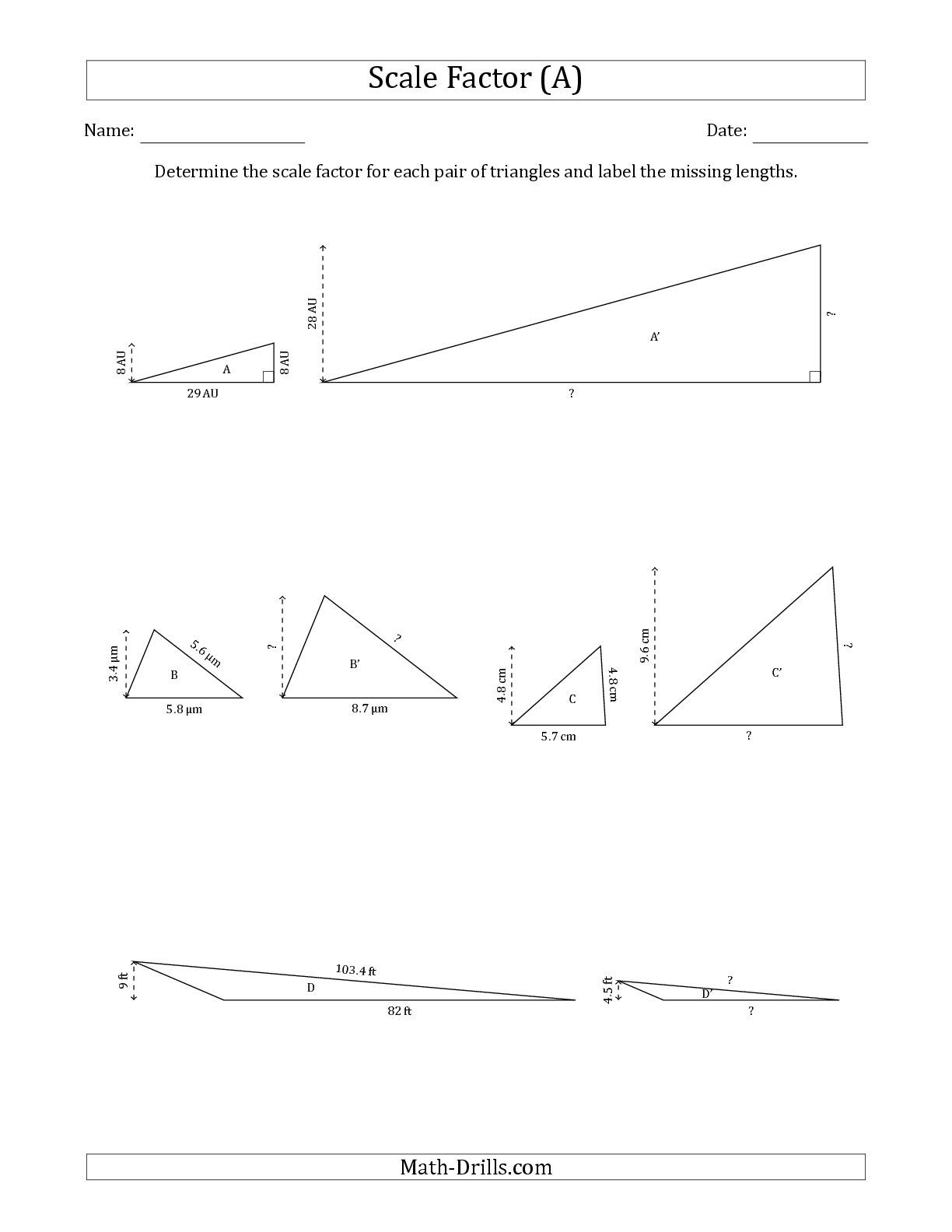 The Determine the Scale Factor Between Two Triangles and Determine the  Missing Lengths (Scale Factors in…   Geometry worksheets [ 1584 x 1224 Pixel ]